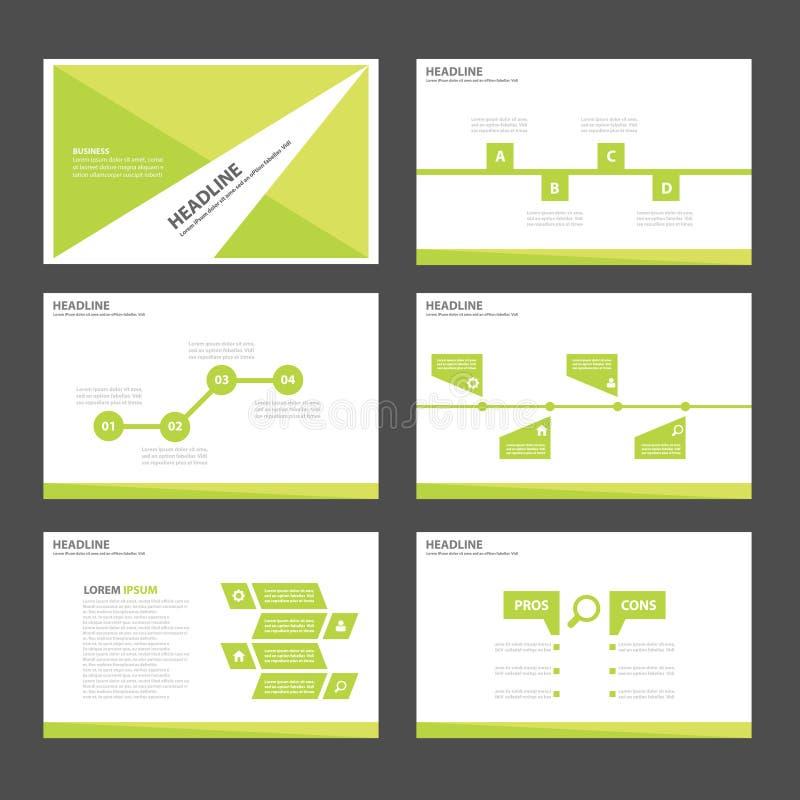 叶子绿色Infographic元素象介绍模板平的设计为给营销小册子飞行物做广告设置了 向量例证