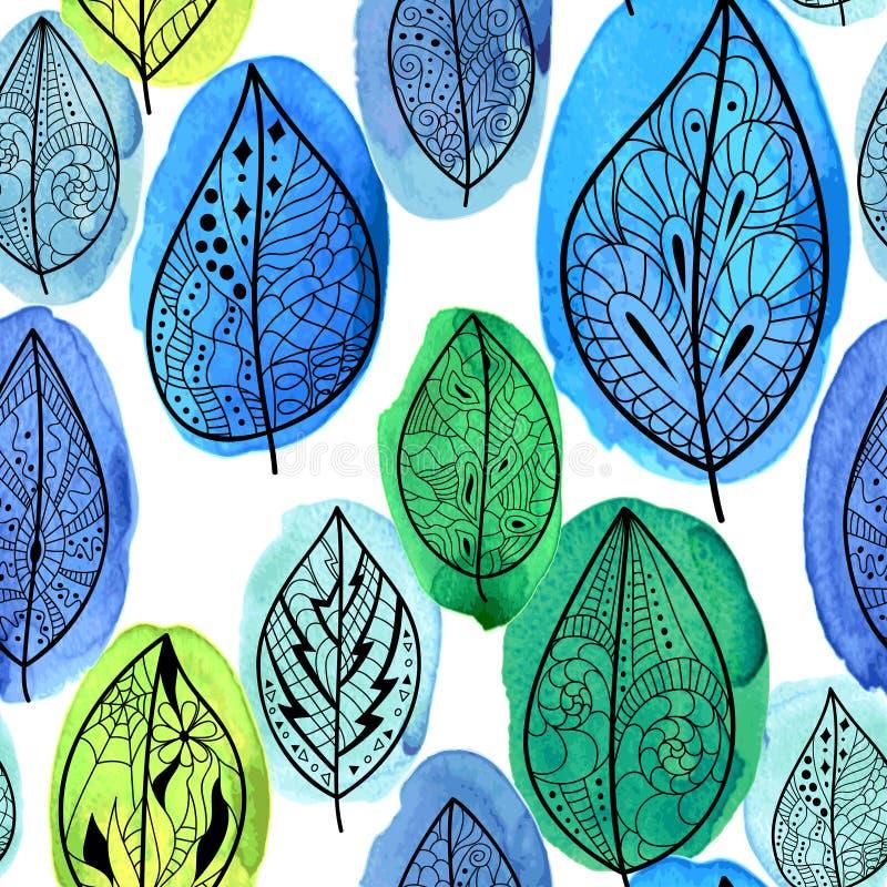 叶子仿造无缝 向量例证