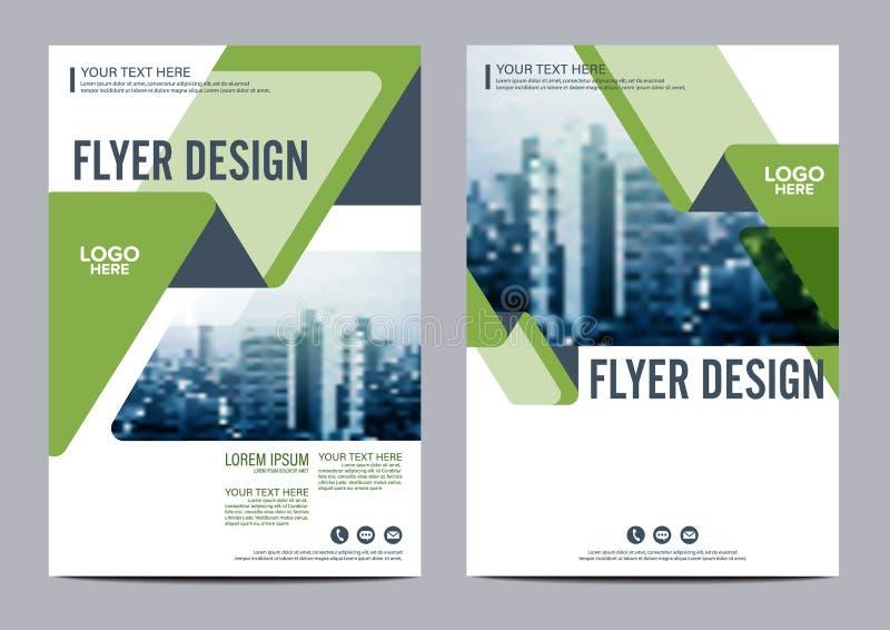 绿叶小册子布局设计模板 年终报告飞行物传单盖子介绍现代背景 例证 向量例证