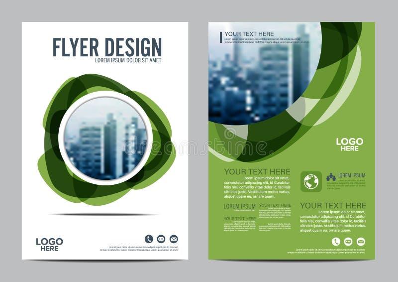 绿叶小册子布局设计模板 年终报告飞行物传单盖子介绍现代背景 例证 库存例证