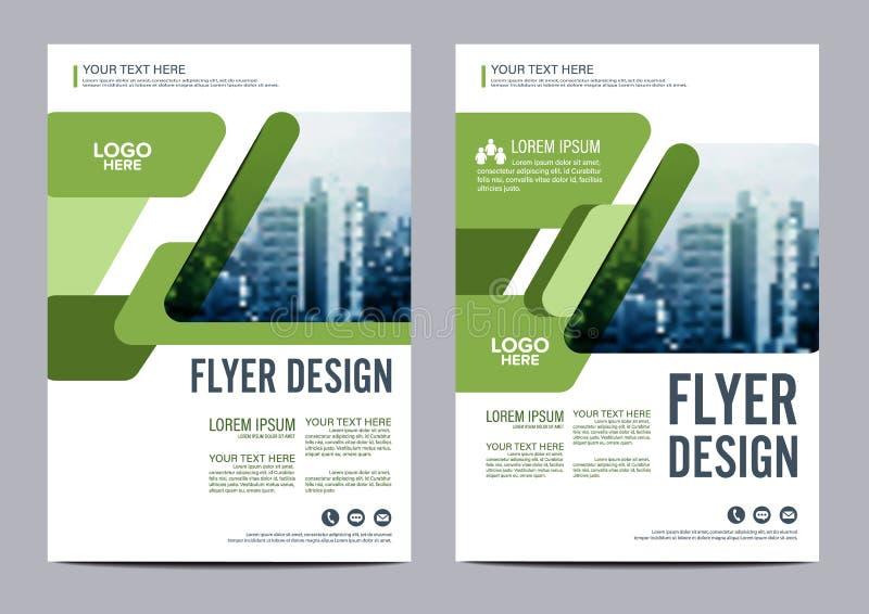 绿叶小册子布局设计模板 年终报告飞行物传单盖子介绍 皇族释放例证