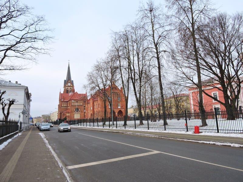 叶尔加瓦镇街道,拉脱维亚 库存照片