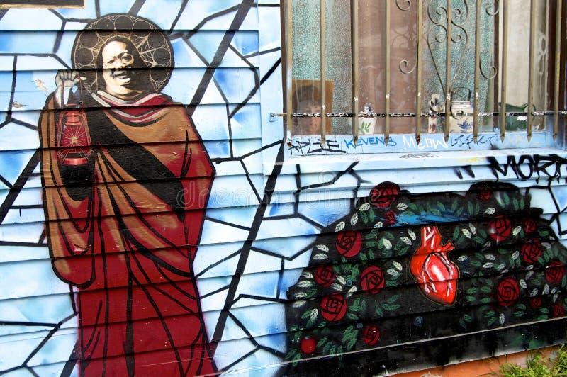 号角胡同教士壁画在旧金山 图库摄影