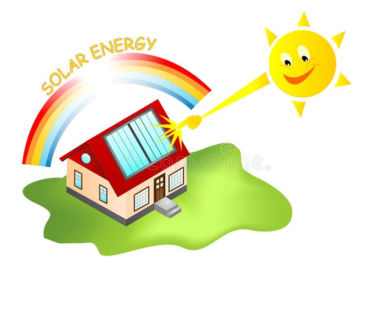 司令官能源房子太阳向量 向量例证