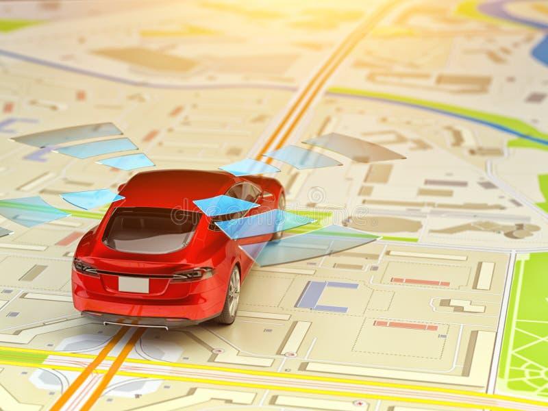 司机协助系统,自驾驶车、自动驾驶仪和无人驾驶的技术概念 皇族释放例证