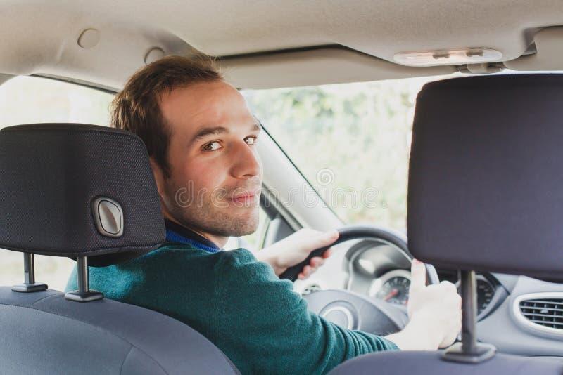 司机画象在汽车或出租汽车的 免版税库存图片