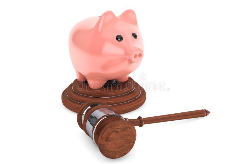 司法惊堂木和存钱罐 向量例证