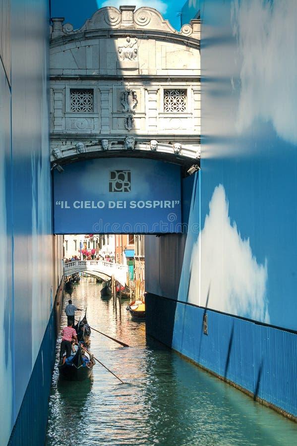 叹气桥梁或者蓬特dei Sospiri,其中一座最著名的桥梁在威尼斯,意大利 免版税库存照片