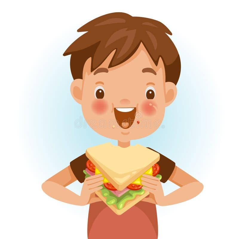 吃三明治的男孩 向量例证