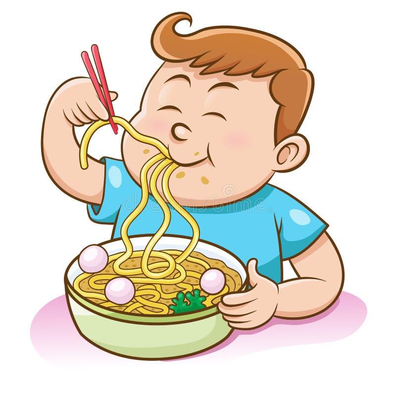 吃与筷子的儿童男孩面条 免版税图库摄影