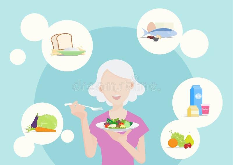 吃健康食品的老妇人 皇族释放例证