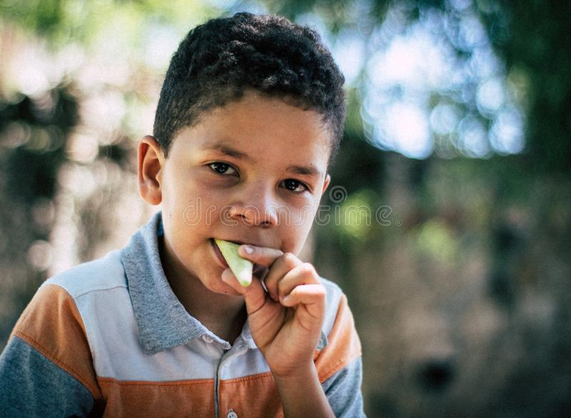 吃冰淇凌的我的小儿子 库存照片