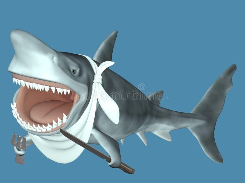 吃准备好的鲨鱼 库存例证