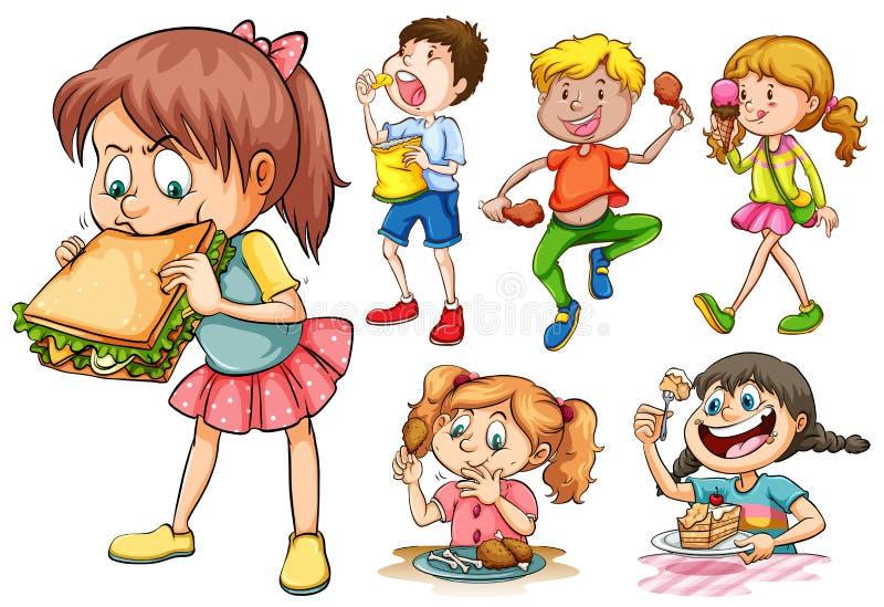 吃另外种类食物的男孩和女孩 向量例证