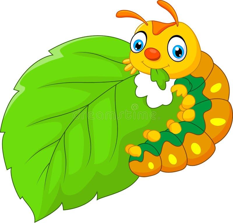 吃叶子的动画片毛虫 皇族释放例证