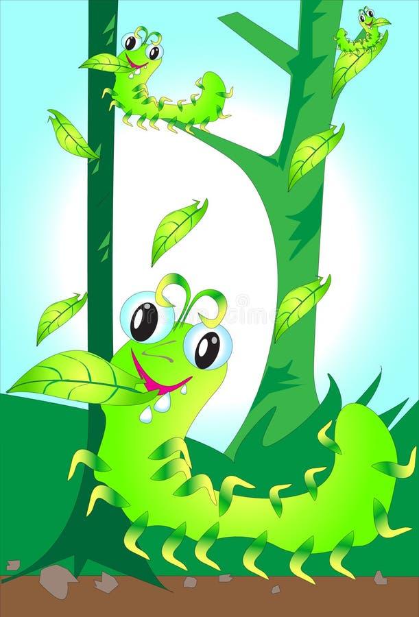 吃叶子的蠕虫 向量例证