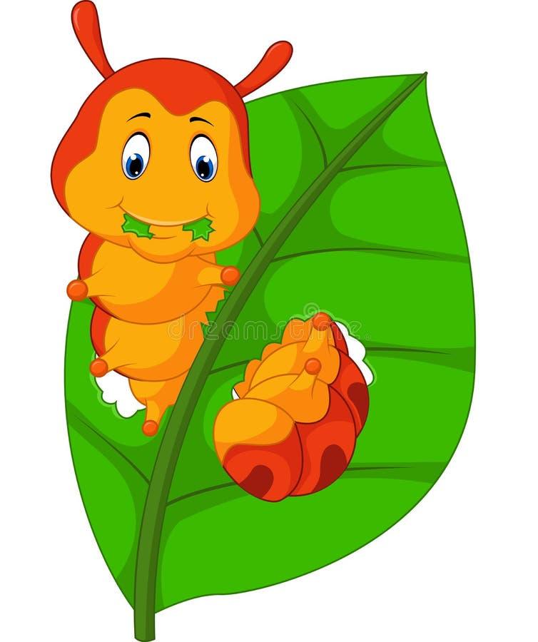 吃叶子的滑稽的毛虫 皇族释放例证