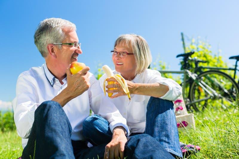 吃和喝在野餐的资深夫妇在夏天 免版税库存图片