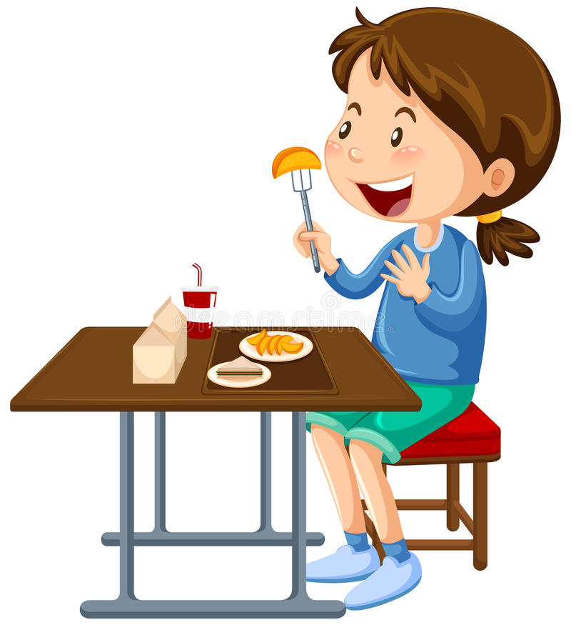 吃在军用餐具餐桌上的女孩 库存例证