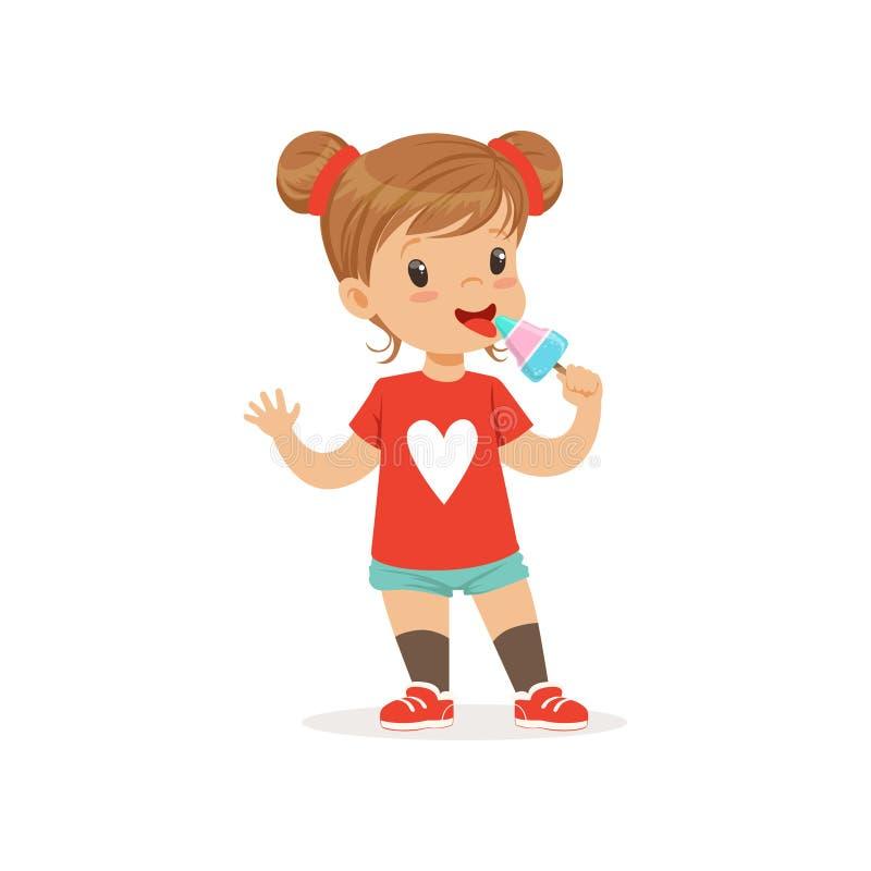 吃在棍子的可爱的女婴冰淇凌 婴孩漫画人物儿童女孩查出的孩子 库存例证