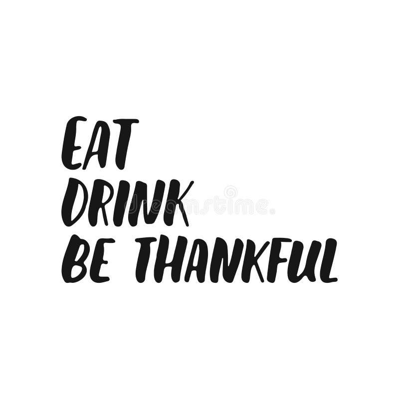 吃在白色背景是感激的-手拉的秋天季节感恩节字法词组隔绝的饮料 皇族释放例证