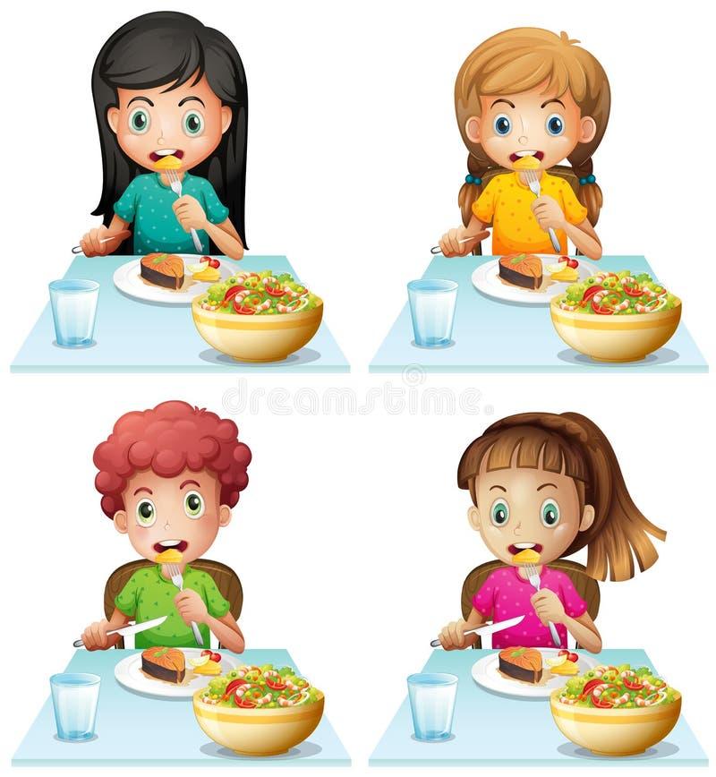 吃在餐桌上的男孩和女孩 库存例证