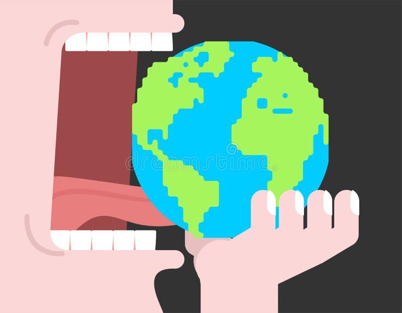吃地球行星 开放的嘴 牙和舌头 饥饿 库存例证