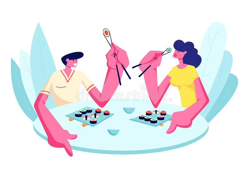 吃寿司的年轻愉快的夫妇在餐馆 拿着棍子的男性和女性角色坐在与日本料理的表上 皇族释放例证