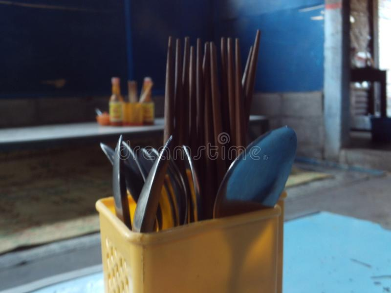 吃工具照片匙子叉子筷子 免版税库存图片
