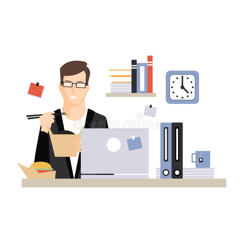 吃快餐在他的办公室工作场所,办工室职员日常生活的年轻商人字符,运作的片刻在 向量例证
