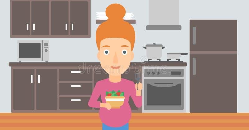 吃怀孕的沙拉妇女 向量例证