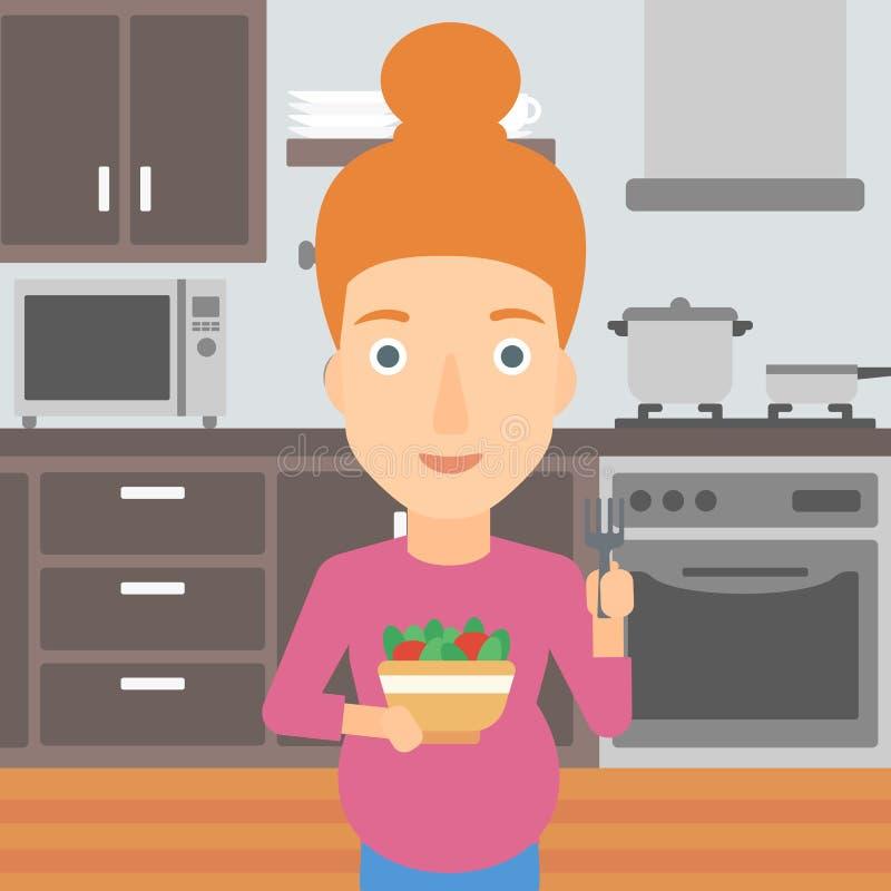 吃怀孕的沙拉妇女 库存例证