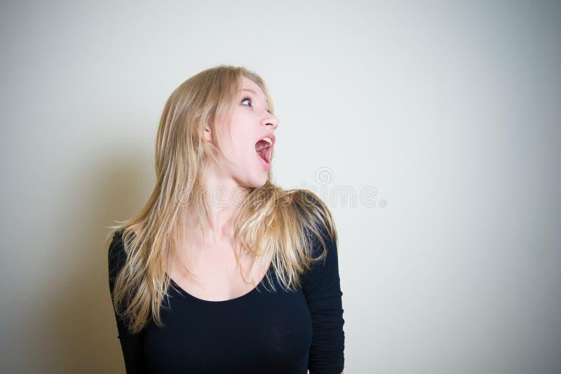 吃惊的年轻白肤金发的妇女画象 库存图片