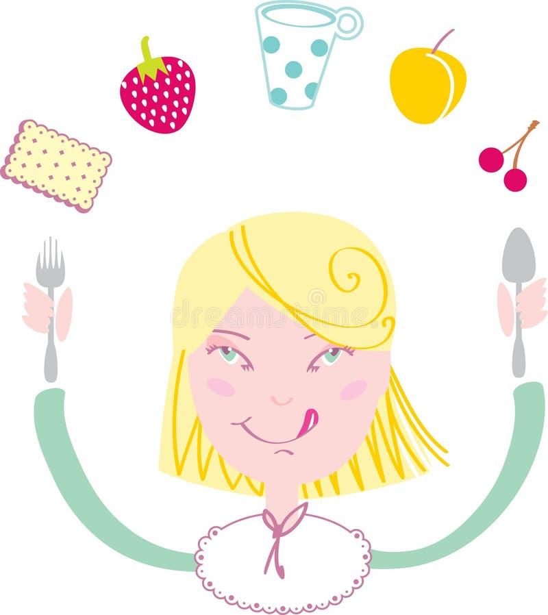 吃愉快的女孩她的午餐 免版税库存图片