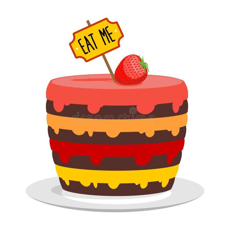 吃我 大蛋糕用草莓 从阿丽斯的不可思议的饼在Wond 皇族释放例证