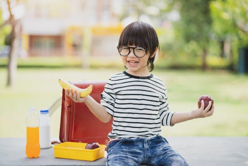 吃户外从plastick的逗人喜爱的男小学生学校吃午餐boxe 孩子的健康学校早餐 午餐的,饭盒食物 免版税库存图片