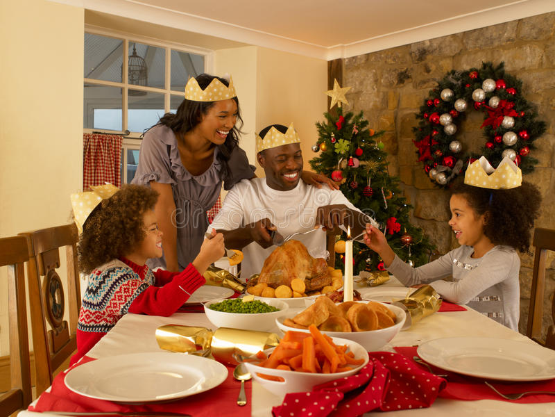 吃新混合的族种的系列在家 免版税库存图片