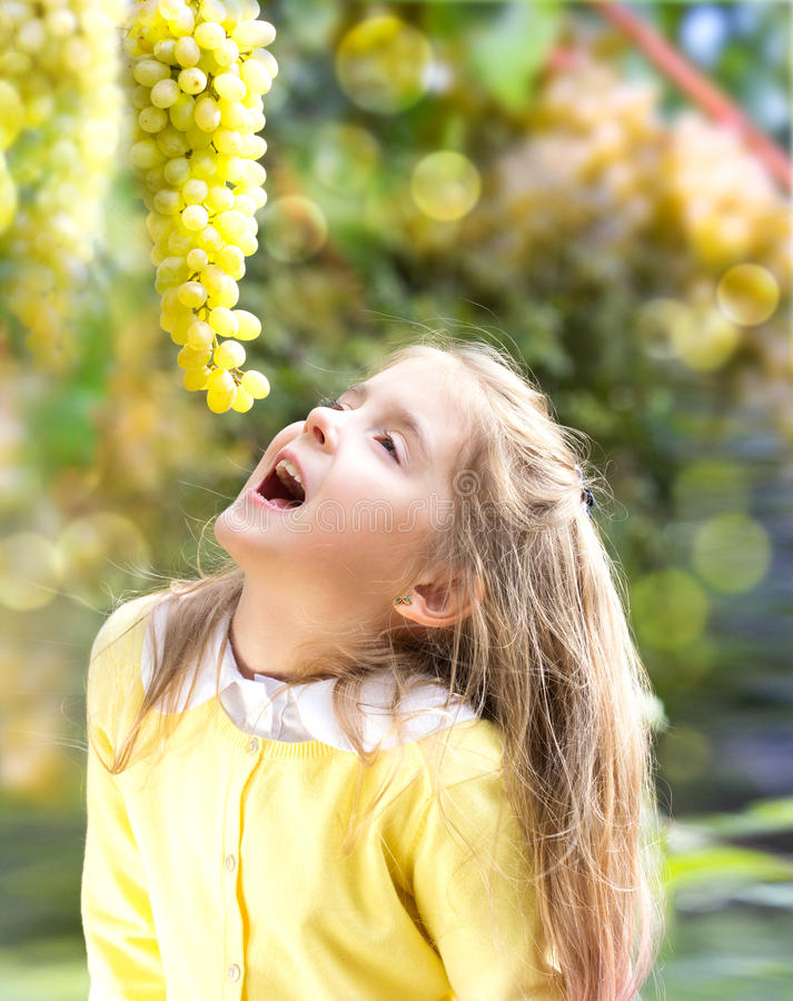 吃新鲜的葡萄的儿童女孩在庭院里户外 免版税库存图片