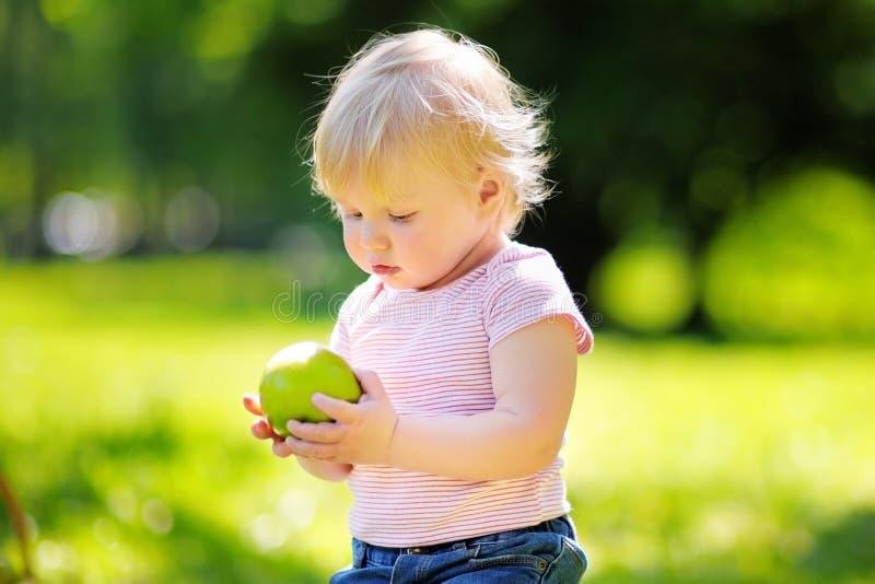吃新鲜的绿色苹果的小孩男孩 免版税库存图片