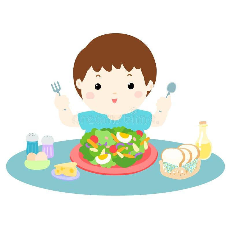 吃新鲜蔬菜例证的男孩爱 皇族释放例证