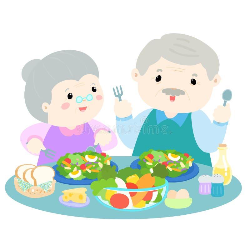 吃新鲜蔬菜例证的资深爱 皇族释放例证