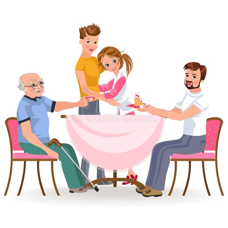 吃晚餐家的家庭,愉快的人民吃食物一起,儿子和爸爸坐由餐桌, sanior的款待祖父 皇族释放例证