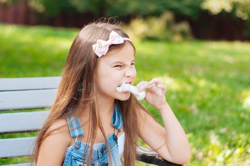 吃棉花糖的小女孩坐一条长凳在公园夏天 免版税库存照片