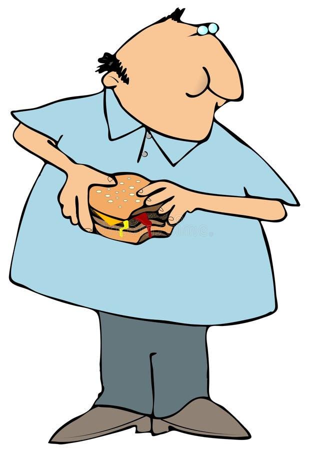 吃汉堡包人 皇族释放例证