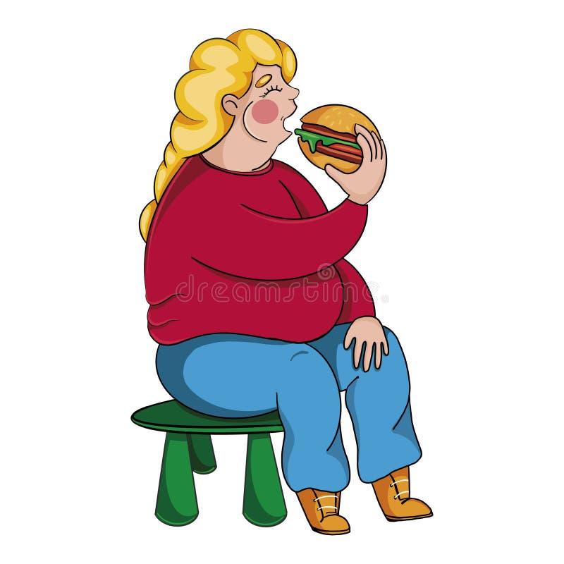 吃汉堡的肥胖女孩坐在小孩子的椅子 吃垃圾食品的肥胖妇女 皇族释放例证