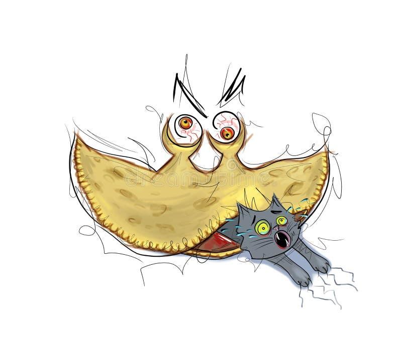 吃猫活例证的疯狂的怪异肉馅饼反对肉消耗量 库存例证