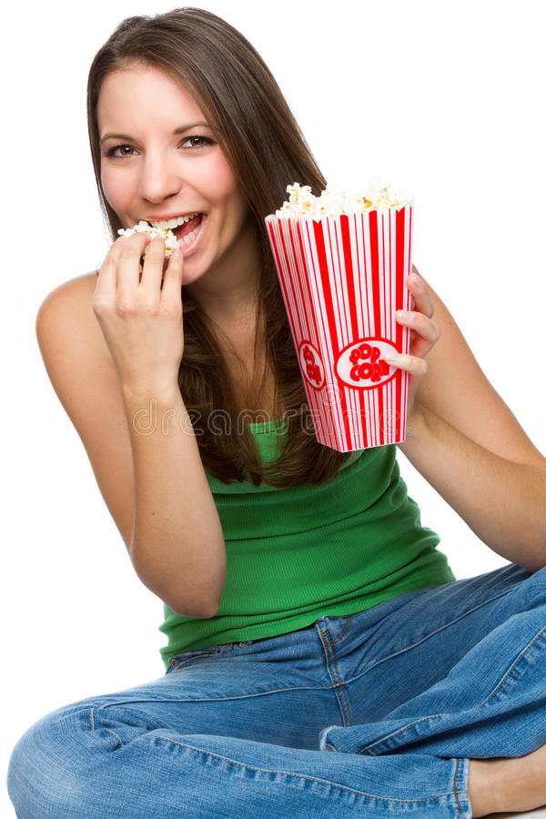 Download 吃玉米花的妇女 库存图片. 图片 包括有 联络, 背包, 喜悦, 流行音乐, 牛仔裤, 容器, 现有量, 电影 - 59104697