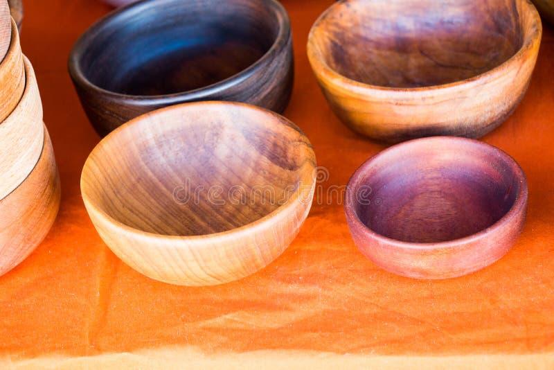 吃的木空的碗 免版税库存照片