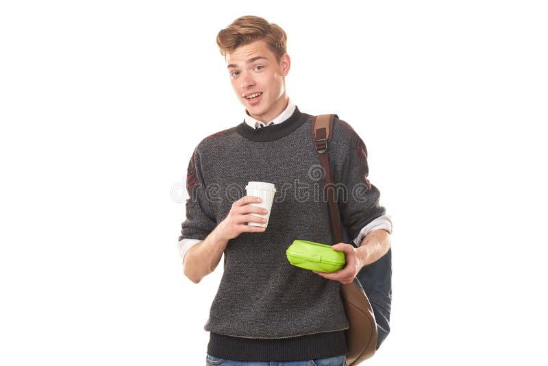 吃的男子大学生午餐 库存照片