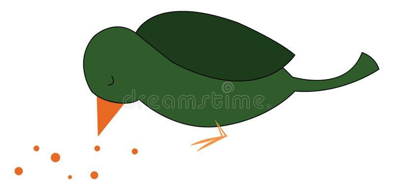 吃种子的绿鸟看上去很可爱的矢量图或彩色插图 库存例证